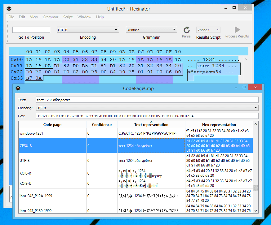 Hexinator Code page comparison dialog