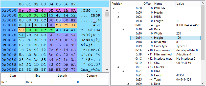 Hex editor with PNG grammar applied